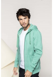 Sweat-shirt zippé chiné à capuche