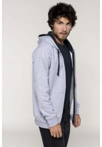 Sweat-shirt zippé à capuche contrastée