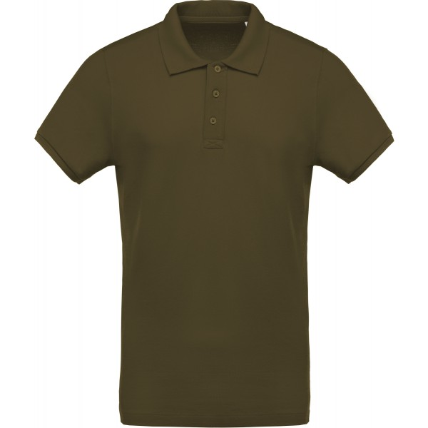 Polo piqué Bio manches courtes homme, Couleur : Mossy Green, Taille : M