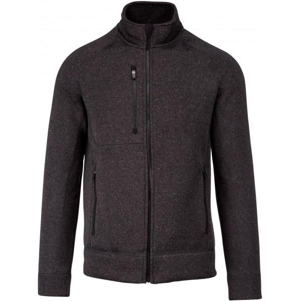 Veste zippée chinée homme, Couleur : Dark Grey Melange, Taille : S